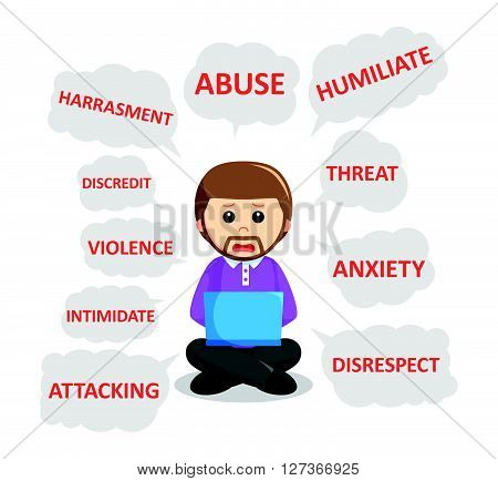 man and cyber bullying  .eps 10 vector illustration flat design