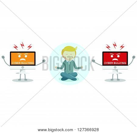 Meditation from cyber bullying  .eps 10 vector illustration flat design