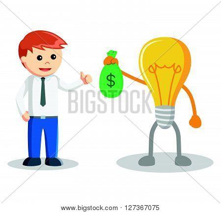 Idea bring sack of money  .eps 10 vector illustration flat design