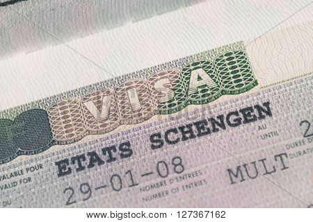 Passport Stamp Visa For Travel Concept Background, Paris France