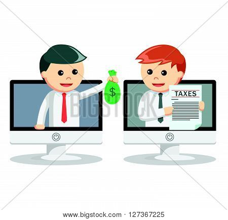 Business man paying tax online  .eps 10 vector illustration flat design