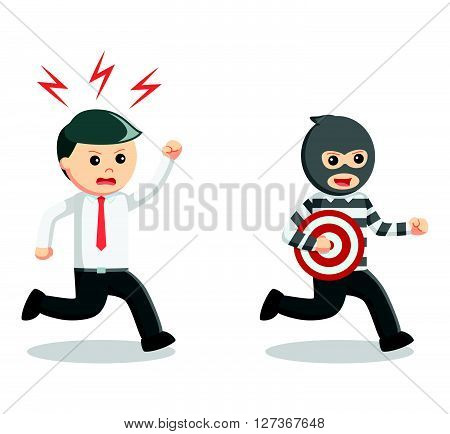 Business man thief target  .eps 10 vector illustration flat design