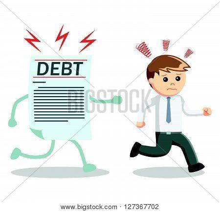 Debt catch Businessman  .eps 10 vector illustration flat design