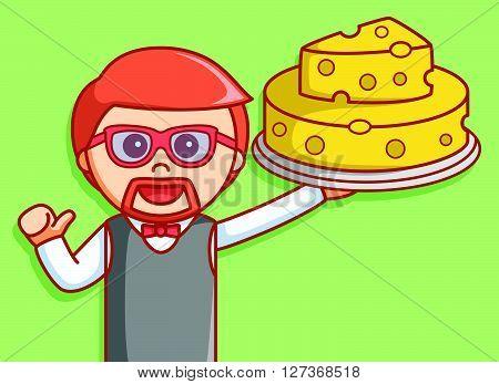 Waiter bring cheese illustration design  .eps 10 vector illustration flat design