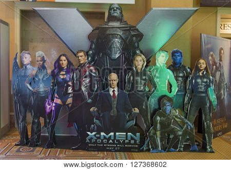 LAS VEGAS - April 13 : A display for the movie 'X-Man' at Caesars Palace during CinemaCon the official convention of the National Association of Theatre Owners on April 13 2016 in Las Vegas