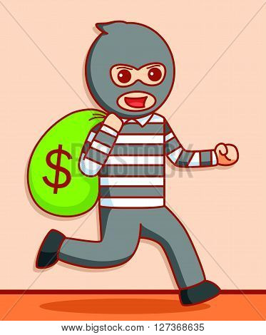 Thief  illustration design  .eps 10 vector illustration flat design