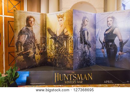 LAS VEGAS - April 13 : A display for the movie 'The Huntsman' at Caesars Palace during CinemaCon the official convention of the National Association of Theatre Owners on April 13 2016 in Las Vegas