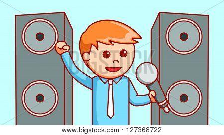 Business man singing illustration design  .eps 10 vector illustration flat design