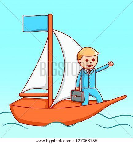 Business man sailing  illustration design  .eps 10 vector illustration flat design
