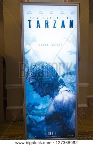 LAS VEGAS - April 13 : A display for the movie 'Tarzan' at Caesars Palace during CinemaCon the official convention of the National Association of Theatre Owners on April 13 2016 in Las Vegas