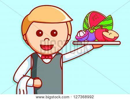 Waiter bring fruits  illustration design  .eps 10 vector illustration flat design