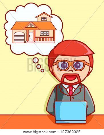 Sell house online  doodle illustration  .eps 10 vector illustration flat design