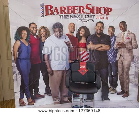 LAS VEGAS - April 13 : A display for the movie 'Barbershop the next cut' at Caesars Palace during CinemaCon the official convention of the National Association of Theatre Owners on April 13 2016 in Las Vegas