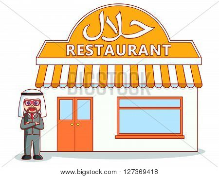 Arabic halal restaurant  .eps 10 vector illustration flat design
