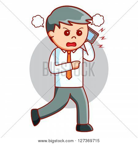 Business man angry at phone  .eps 10 vector illustration flat design