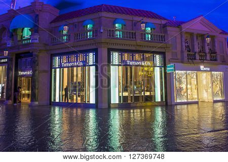 LAS VEGAS - APRIL 13 : Exterior of an Tiffany's store in Caesars Palace hotel in Las Vegas on April 13 2016. Tiffany's is an American multinational luxury jewelry retailer.