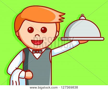 Waiter service  illustration design .EPS10 editable vector illustration design