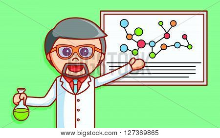 Scientist explaining formula  .eps 10 vector illustration flat design