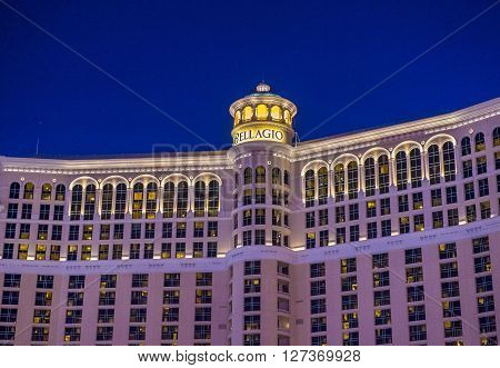 LAS VEGAS - APRIL 13 : Bellagio hotel and casino on April 13 2016 in Las Vegas. Bellagio is a luxury hotel and casino located on the Las Vegas Strip. The Bellagio opened on 1998.