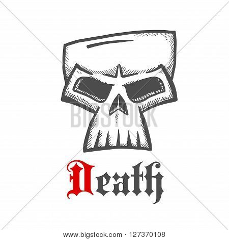 Face of a death symbol with dark grey sketch of sullen skull with ornamental gothic caption Death below. Great for Halloween mascot or t-shirt print design usage