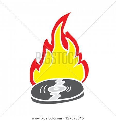 burning record cartoon illustration isolated on white