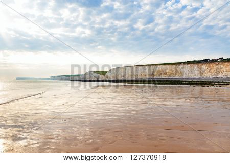 Sea sunset chalk cliff, Birling gap, Sussex, England perfect