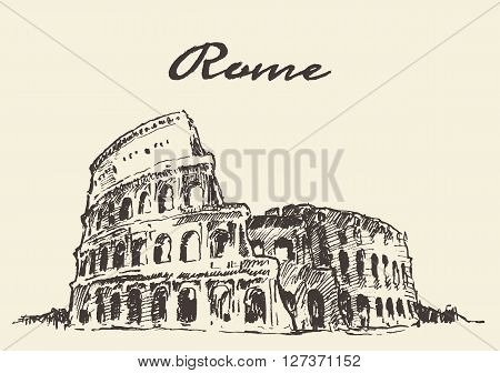 Streets in Rome Colosseum vector illustration hand drawn sketch