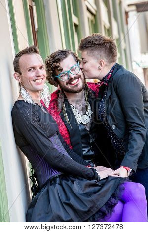 A Kiss Among Three Gender Fluid Friends