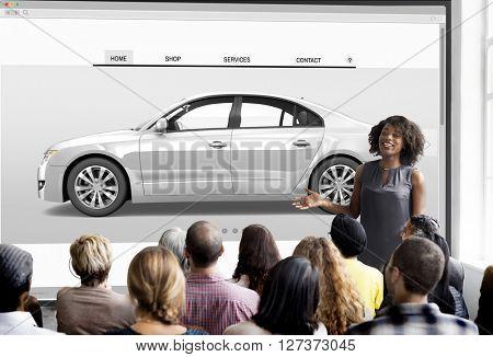 Car 3D Transportation Interface Website Concept