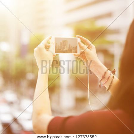 Woman Rear View Photography Traveling City Life Concept