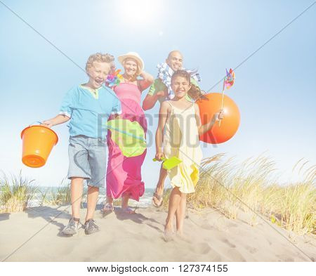 Cheerful Family Bonding by the Beach Concept