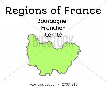 France administrative map of Bourgogne-Franche-Comte region on white