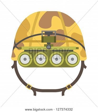 Military tactical helmet of rapid reaction army and police symbol of defense vector illustration. Military helmet war army protection and military helmet camouflage steel uniform. Military helmet.