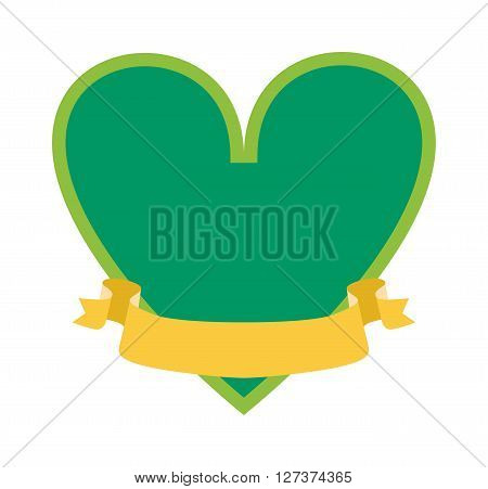 Classical simple green heart silhouette shape icon isolated vector illustration. Love heart silhouette and romance heart silhouette. Wedding heart silhouette decoration art colorful label.