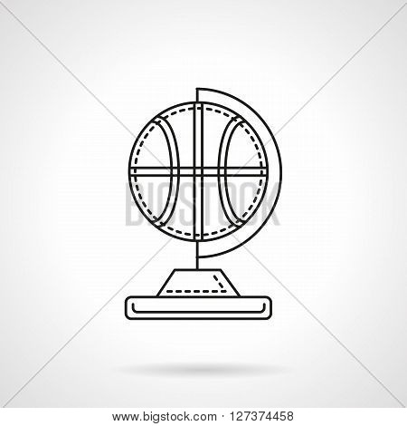 Basketball ball on globe rack. Sports souvenirs and awards. World competition. Flat line style vector icon. Single design element for website, business.