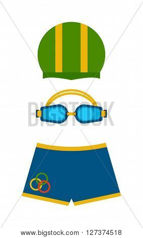 Clothes for swimmers sportswear swim fins color protection for eyes and hat vector. Swimmer clothing flippers glasses for swimming. Swimmer clothing briefs. Cap for pool, swimming goggles, swim shorts