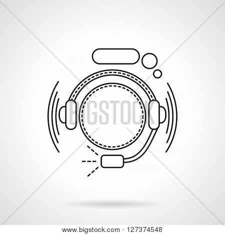 Abstract hotline operator with headset and speech bubble. Call center. Online support. Flat line style vector icon. Single design element for website, business.