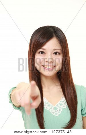young Japanese woman decided on white background