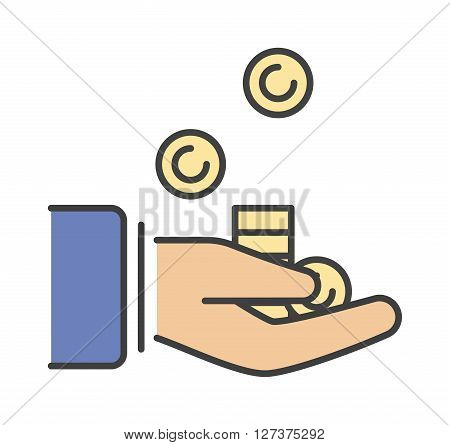 Human hand with money business currency finance investment vector icon. Business money in hand and payment bill money in hand. Paying concept money in hand. Rich concept paying financial give.