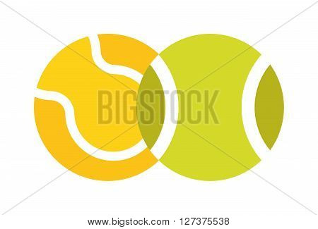Tennis ball isolated sport equipment game circle round vector icon. Couple tennis ball and sport equipment tennis ball. Two tennis ball sport training tennis leisure. Athletic tournament active ball.