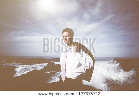 Businessman staying alone on the island.
