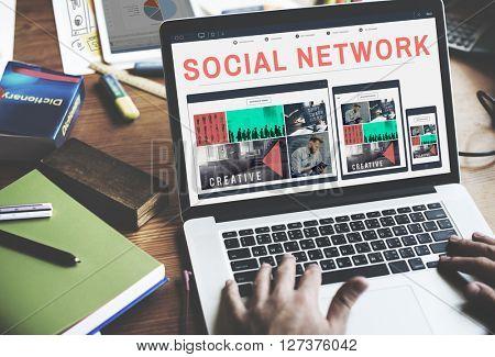 Social Network Media Connection Communication Concept