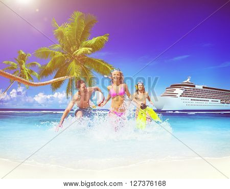 Friends Summer Beach Happiness Beach Ball Playing Concept