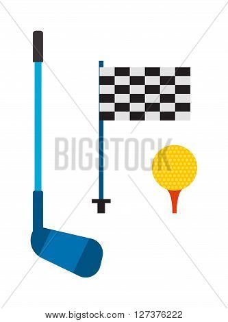 Set of golf club tee and ball sport leisure equipment isolated vector illustration. Golf club game iron equipmentand and outdoors lifestyle golf club. Golf club flag, stick and golf ball.