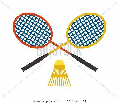 Two badminton racket and shuttlecock sport game leisure competition feather fitness vector. Action badminton sport and game leisure fun equipment badminton. Professional racket badminton.