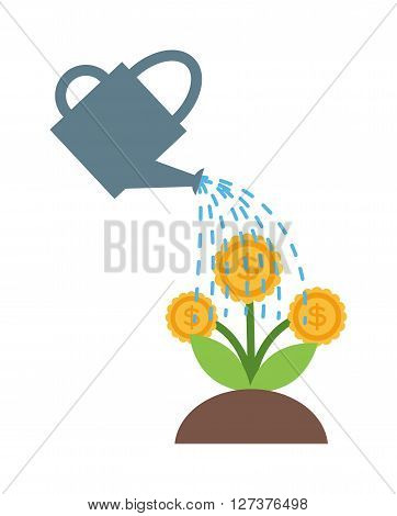 Watering flowers in garden centre nature plant summer blooming vector. Nature watering flower plant and colorful watering flower. Botany outdoors horticulture watering flower, watering can flower.