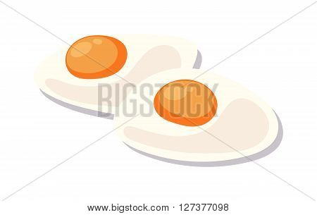 Scrambled eggs lunch plate on white background appetizing morning cooked ingredient vector. Fresh scrambled eggs and scrambled eggs delicious cuisine dish. Scrambled eggs appetizing ingredient.