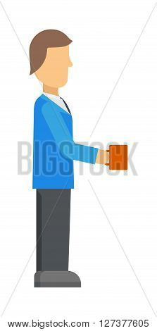 Coffee break business man with cup, cafe beverage espresso breakfast character male vector illustration. Business coffee break and corporate coffee break. Coffee break concept icon person.