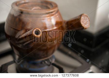 decocting medicinal herbs with enamel pot horizontal