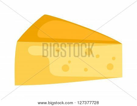 Cheddar cheese slice on white background food healthy product, snack frash milk gourmet breakfast vector illustration. Milk fresh cheese slice and healthy cheese slice. Gourmet cheese slice.